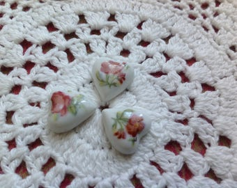 Set of three mini cabochons, 15x14mm in Limoges porcelain