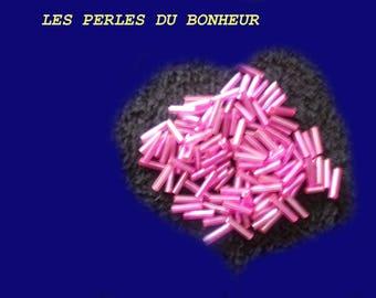 Set of 50 pink glass tube beads
