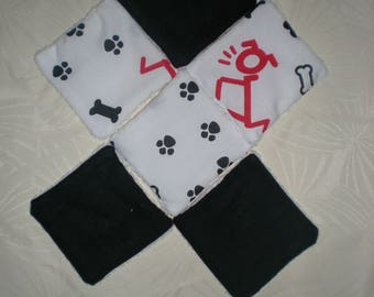 6 wipes of bamboo and cotton - black and white