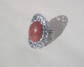 Silver ring: Red Jasper