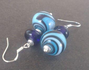 Lampwork Glass beads earrings: blue and purple swirls