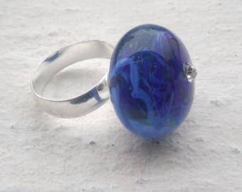 """Flight of electric blue"" ring - spun glass torch"