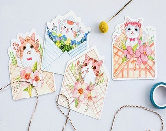 NEW! 5 stunning cards postcards theme cute cats, mix patterns 14 * 9cm