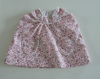 "Sleeveless, patch pockets pinafore dress ""fabric cotton flower"" i"