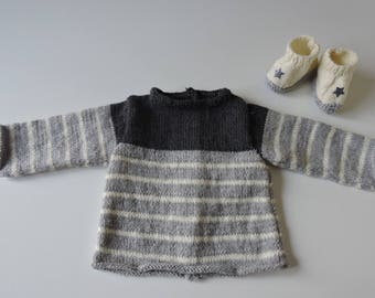 All bra & wool slippers knitted by hand