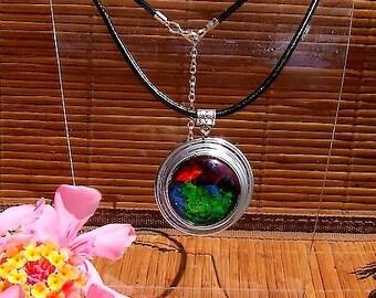"""Constellation 2"" handmade black leather, aluminium and cabochon pendant necklace"