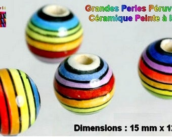 NEW! 2 large pearls Artisanales shape round multicolor ceramic 15 mm x 12 mm - Made in Peru