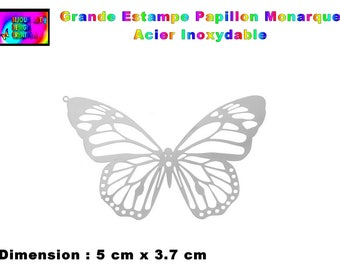 8 pendants prints monarch butterfly, in stainless steel 5 cm x 3.7 cm