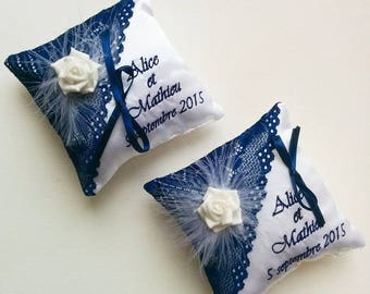 Set for wedding pillow and guestbook with lace