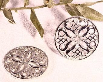 10 round silver filigree connectors arabesque ethnic 24mm