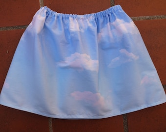"Skirt elasticated, size 3 ""sky, clouds, blue and white"" cotton"
