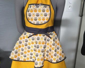 apron woman chic, unique handmade apron pinup apron, blouse, Christmas gift, owl, OWL