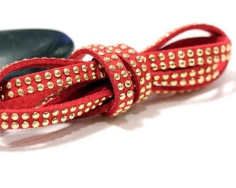 Red - Studded suede cord double Gold 5mm