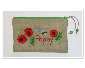 KIT EMBROIDERED POPPIES AND BEE