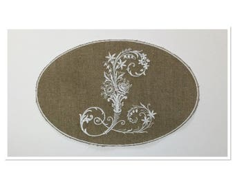 VICTORIAN Monogram Letter L in Medallion embroidered on linen