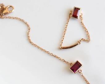 18K Rodholite Garnet ring/14K Rodholite Garnet ring/January birthstone/Garnet ring/Square gemstone/Garnet square gemstone ring