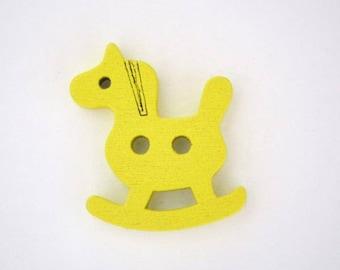 Wood shape 4 x rocking horse button: yellow - 001860
