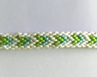 Green, blue and white Friendship Bracelet with border
