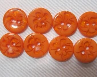 8 buttons fancy flowers orange 15 mm