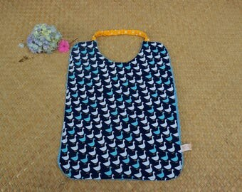 Navy towel personalized canteen with lovely blue and white geese on bottom