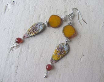 Copper enamelled in yellow, Brown and silver drop earrings Czech glass, agate gemstone and charm