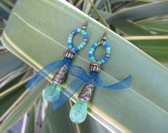 drop dangle earrings frosted green handmade glass, ornate bronze metal, organza Ribbon and seed beads Cap blue and green