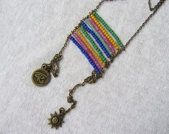 ethnic and Bohemian pendant necklace, bronze pendant with large beads frosted with vivid colors, charms and metal chain