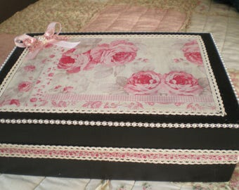 Black box and pink floral lace and Pearl