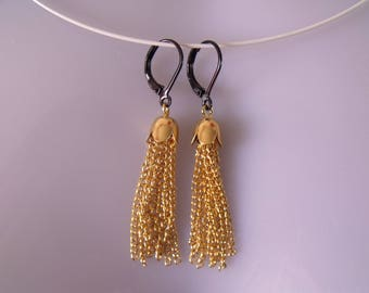 CLEARANCE gold tassel chain earrings