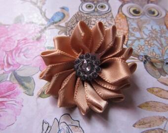 35mm jewels scrapbooking satin fabric flower applique
