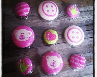 Pretty pink Teddy bear 20mm and 14mm fabric buttons