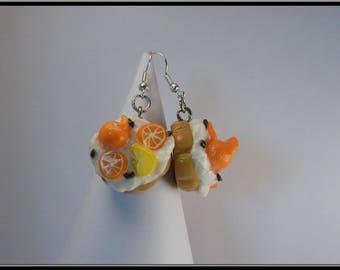 Pies orange earrings lemon polymer clay.