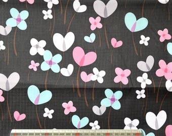 """Black pvc coated fabric * waterproof * pattern """"Flower/heart"""""""