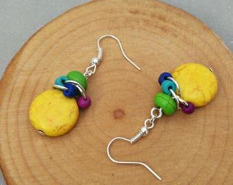 Dangling earrings, ethnic earrings in yellow stone and wooden beads of coconut, women gift