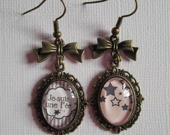"""""""I'm a fairy II"""" pendant earrings, lace setting"""