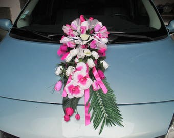Decoration of car of newlyweds on suction cup (white, fuchsia and purple)