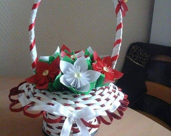Flower red and white floral basket