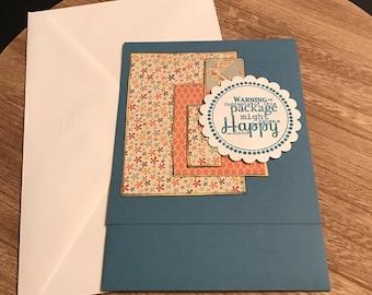 "Handmade Just Because Gift/Cash Pocket Card Blue Base 7""x5"" Top Fold"