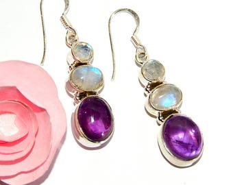 Earrings in amethyst and Moonstone 925 Silver hallmark