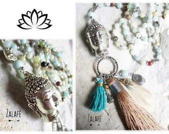 tassel necklace, amazonite necklace, buddha necklace, turquoise,beach, zen, holidays, silver tibet, bohemian style, gypsy, boho