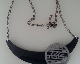 Black Plexiglass Crescent Necklace Collar