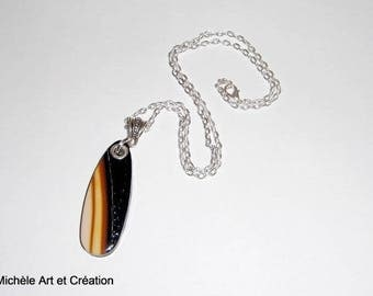 fashion necklace black and Brown gradient polymer clay