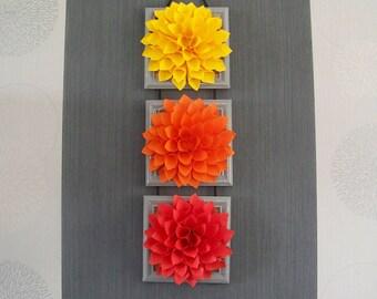 Triptych flowers Orange yellow customizable Red Dahlia Christmas Halloween