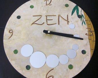Zen beige and Brown wooden clock