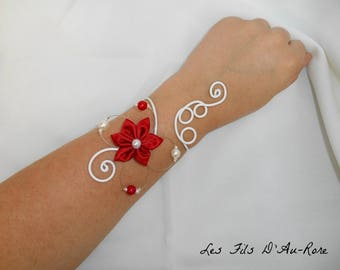 BEAUTIFUL flower bracelet with Red satin flower