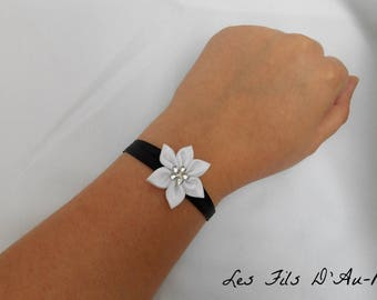 Black satin with white satin flower bracelet