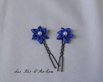 Set of 2 Royal blue satin flower hair pins