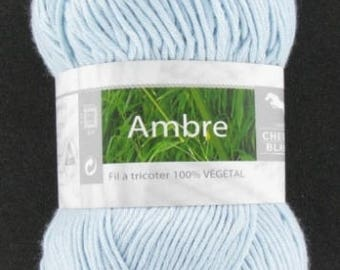 Yarn was Amber blue glacier No. 210 white horse