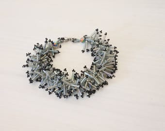 "Bracelet ""Hedgehog"", iridescent gray Bugle beads blue, Japanese beads"