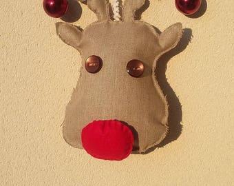 """Christmas linen """"deer head"""" wreath"""